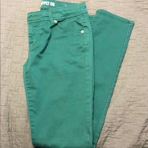 Mossimo colored skinny jeans. Green. Size 5.